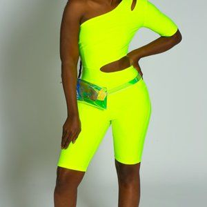 Neon Green Slit Jumpsuit